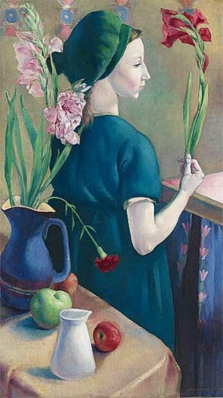 Clara Klinghoffer - Girl with Flowers, 1920, oil on canvas, painted during her final year at the Slade.