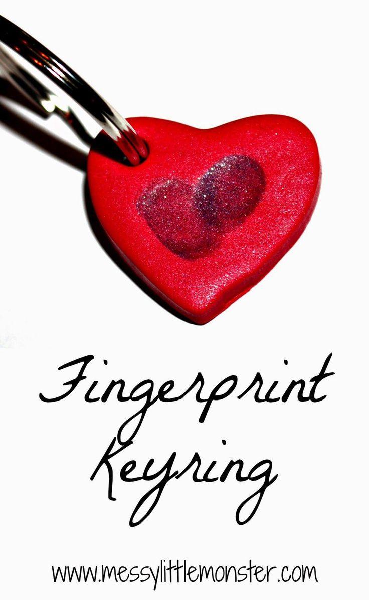 Simple valentine crafts for toddlers - Fingerprint Heart Keyring