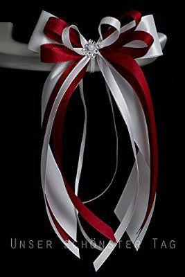 10 Stk Antennenschleife Autoschleife Autoschmuck Hochzeit SCH0003 weiß bordeaux mit perle