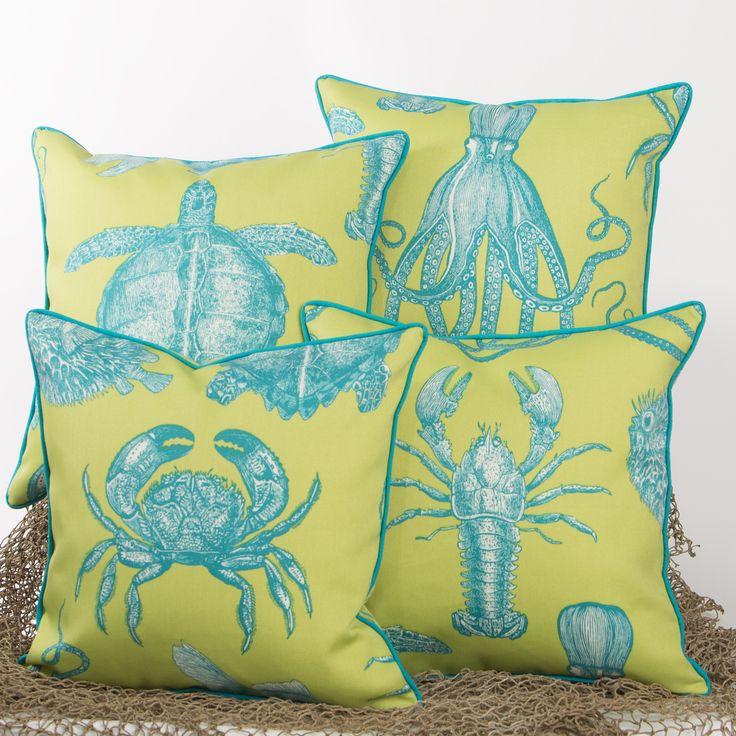 Naples Sea Life Series - Indoor / Outdoor Pillows Beach Pillows Coastal Pillows Beachy ...