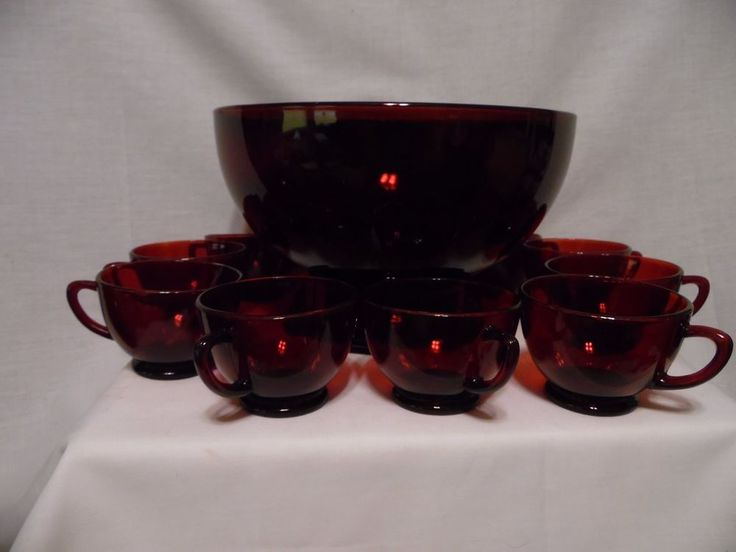 Vintage Anchor Hocking Ruby Red Punch Bowl Set With 10 Cups & With Bonus Stand  #AnchorHocking