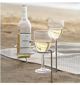 wine at the beach: At The Beaches, Idea, Wine Holders, Wine Bottle, Wine Glasses, Products, Drinks, Glasses Holders, Beaches Picnics