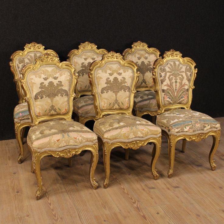 Gruppo di sei sedie francesi della metà del XIX secolo. www.arcantiques.com
