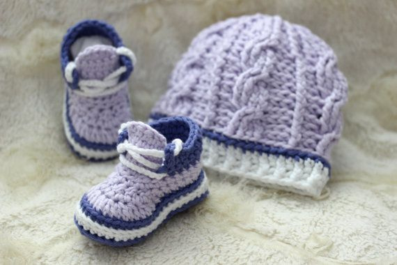 Crochet Stitch M2 : Crochet Baby Girl Hat and Booties Set, Hat and Sneakers Set, Size ...