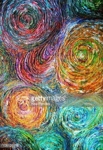 Stock Illustration : Funky & Modern Multicoloured Oil Painting on Canvas, Macro, Patterns, Circles