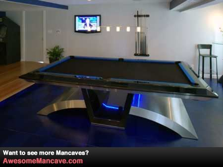 Complex Object Pool Table Futuristic Look Very Cool Might Not Fit Theme Of Room Man Cave