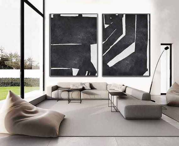 Set Of 2 minimalist art on canvas, hand painted black and white painting from CZ ART DESIGN, for minimalist home and modern interiors. @CeilneZiangArt