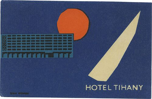 Signed 'Terv Nyomda'. Hotel Tihany, Balaton, Hungary #Balaton #vintage #tourism #marketing #poster #plakat #Hungary Collection by: http://www.pinterest.com/bookpublicist/