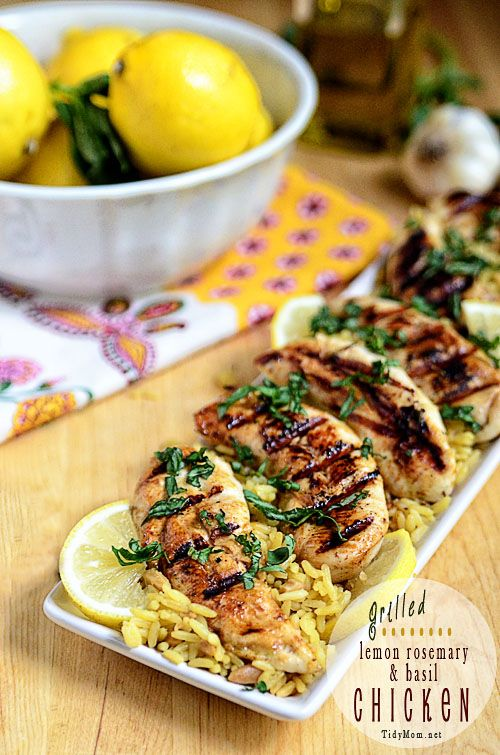 This Lemon Rosemary Basil chicken cooks up on the grill in under 10 minutes! Marinade ahead of time for a quick, healthy and delicious chicken dinner.