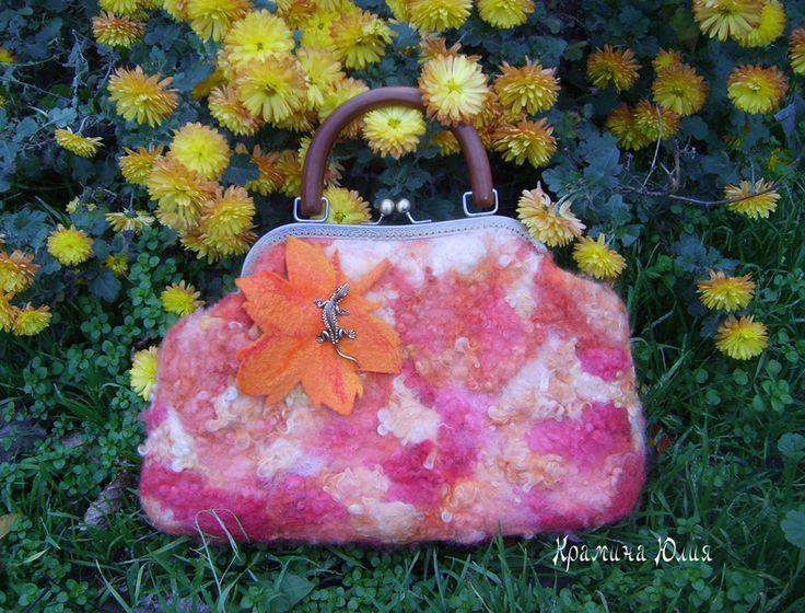 "Felted handbag ""Autumn "" orange yellow from YuliasFeltworld by DaWanda.com"