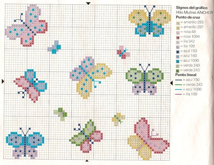 Papillons trés simple grilles point de croix