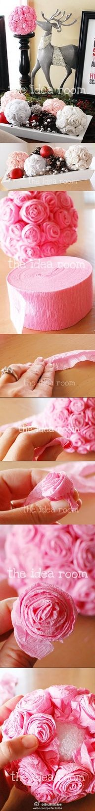 Crepe paper rolled flower-covered balls - this DIY project would work for weddings, bridal showers or holiday decorations.