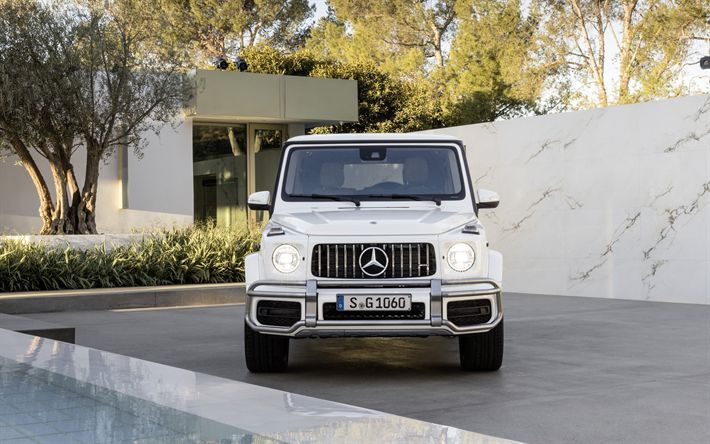 Download wallpapers 4k, Mercedes-Benz AMG G63, headlights, 2019 cars, SUVs, white Gelendvagen, new cars, Mercedes G-Class, german cars, Mercedes, Gelendvagen