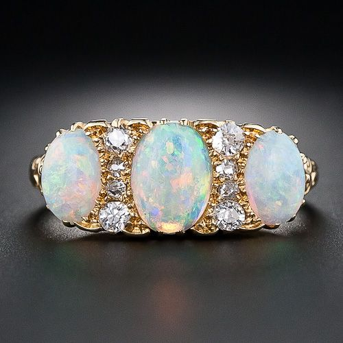 Victorian Opal and Diamond 18k gold Ring.