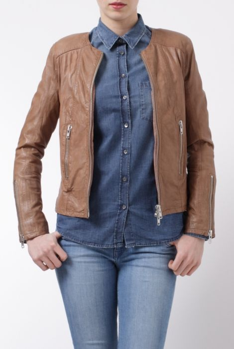 Bully natural leather biker jacket giacca in pelle color cuoio Bully shop online