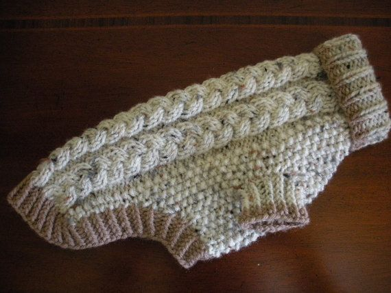 cable knit dog sweater in oatmeal