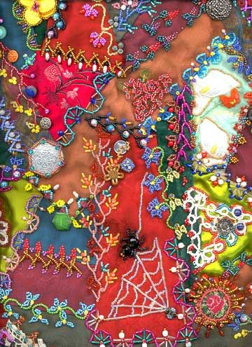 Crazy Quilt embroidery stitches (with beads), workshop info, no directions at site...