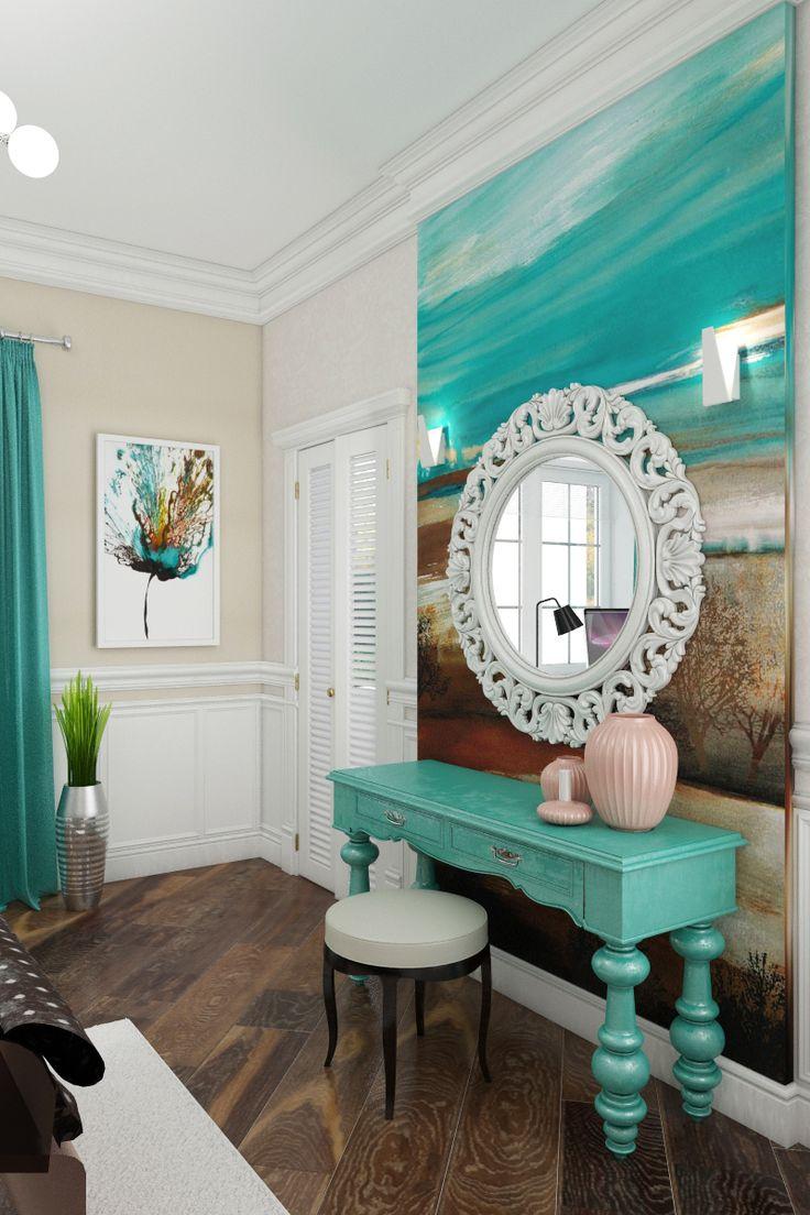 boudoir, туалетный столик в женской спальне, сочетание бирюзового с песочными оттенками, резная рама зеркала, Туалетный столик в спальне