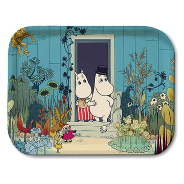 Lovely colourful Moomin tray inspired by Moomins on the Riviera. Handmade and with illustrations by Tove Jansson. High quality wood, made in Sweden. Suitable for the dishwasher. Brings joy to your home!  Size 27 x 20 cm.