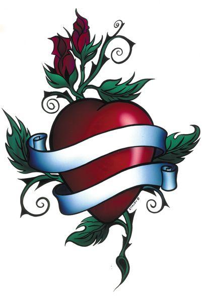Heart Name Tattoo Classic Banner Black Flaming Rose - Free ...