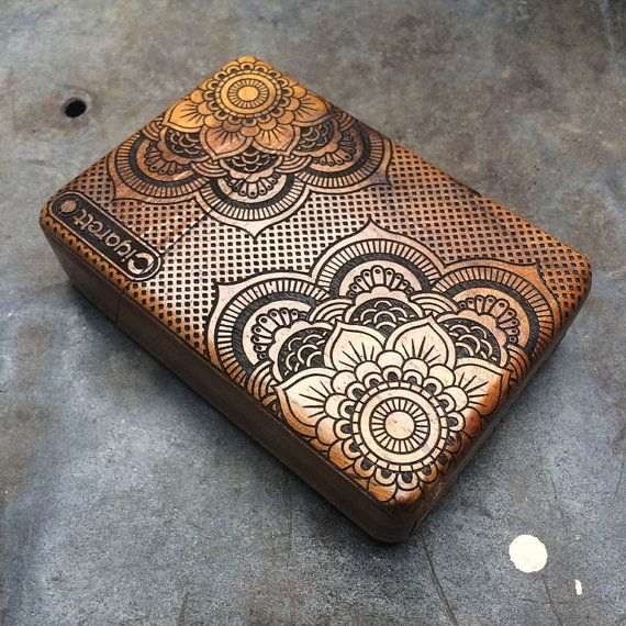 Mandala floral Deco Java Teak Wooden Cigarette Case by Maliojava