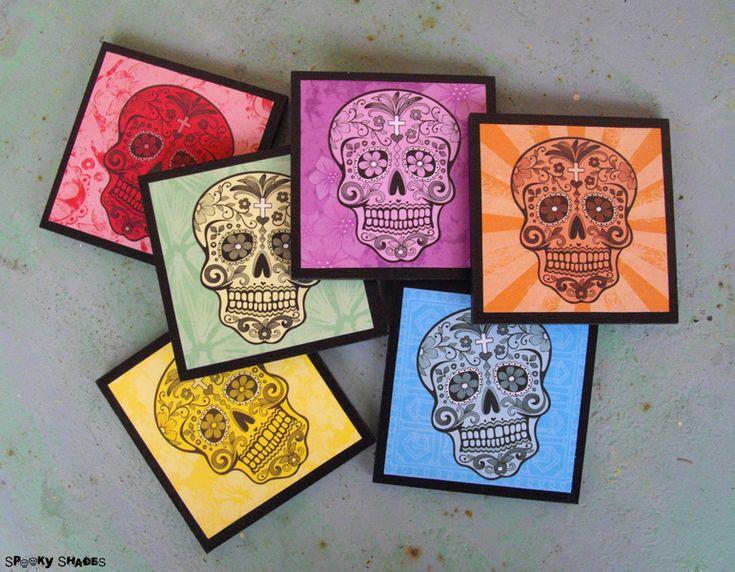 6 sottobicchieri teschi messicani arcobaleno di Spooky Shades su DaWanda.com