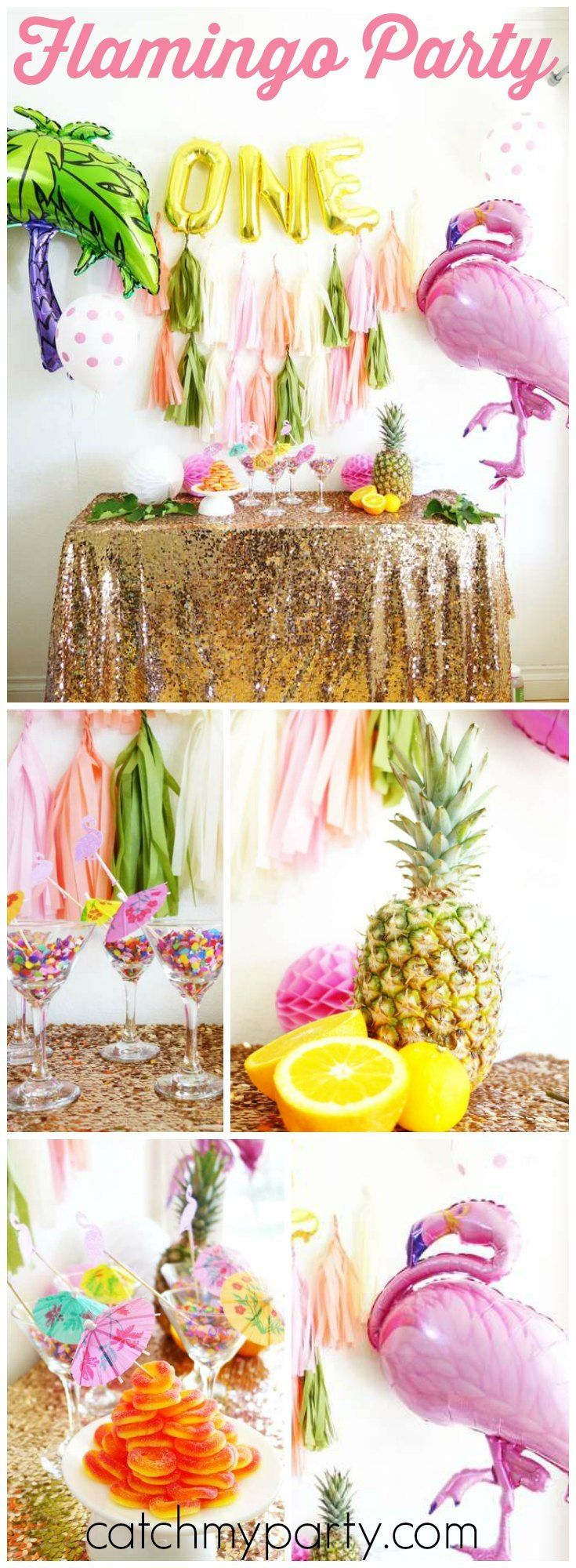 How cool is this tropical birthday party with flamingos and palm trees! See more party ideas at Catchmyparty.com!