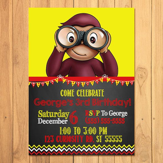 Curious George Invitation Chalkboard  Curious by SometimesPie