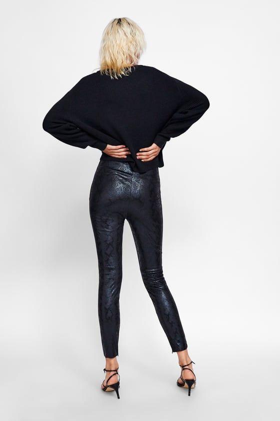 dd4dffe104ee76 Image 3 of FAUX SNAKESKIN LEGGINGS from Zara   Want   Leggings ...