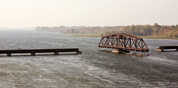 Swing bridge St. Laurent river, Quebec Canada