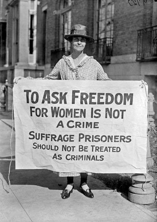 Liberty Bell for suffrage, 1916 Woman suffrage pickets, 1917