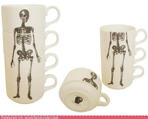 skeleton tea cup set: Skeletons Cups, Teas Time, Cups Stacking, Teas Cups, Skeletons Espresso, Bones, Espresso Cups, Skeletons Teas, Teacup