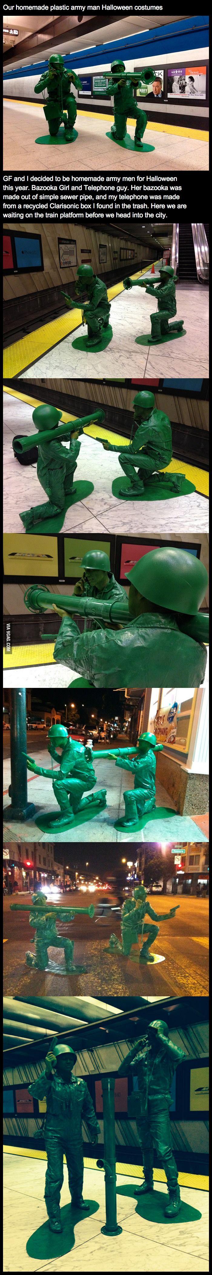 Girlfriend and boyfriend went as plastic army men
