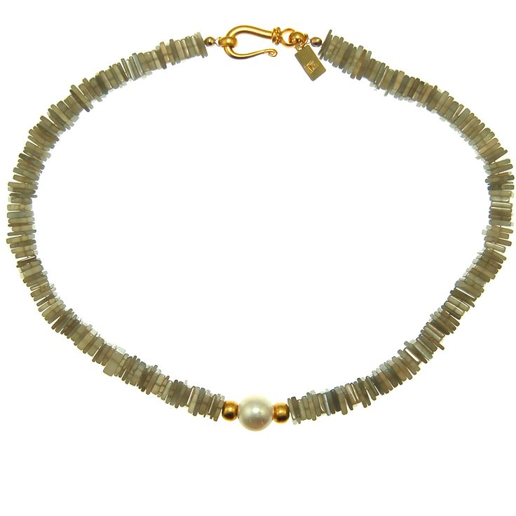Pearl and Grey Moonstone Necklace (N1771R) $400