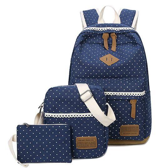 Школьный рюкзак в мелкий горошек 3 в 1, фото 2