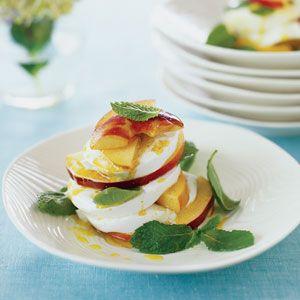 Peach and Mint Caprese Salad with Curry Vinaigrette | MyRecipes.com