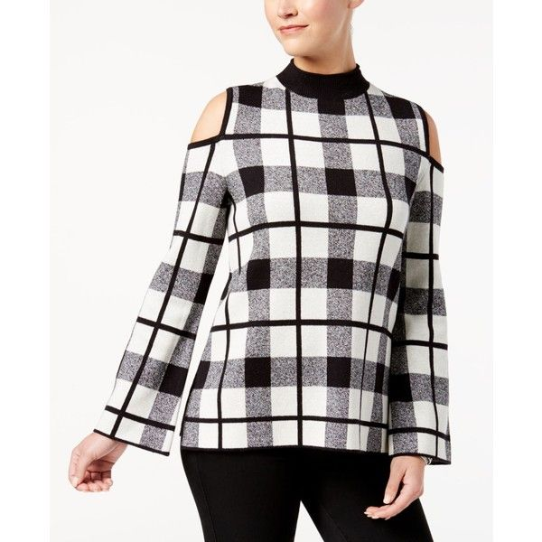 Style & Co Windowpane-Plaid Cold-Shoulder Sweater, Created for Macy's ($50) ❤ liked on Polyvore featuring tops, sweaters, cold shoulder sweater, cut out shoulder turtleneck, cut-out shoulder tops, white cold shoulder top and cut-out shoulder sweaters