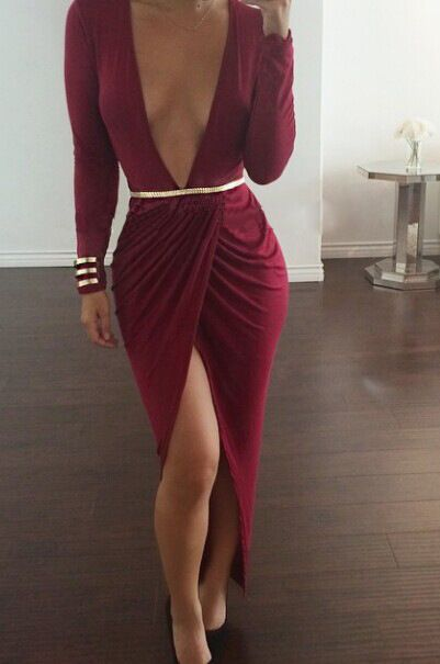Sexy V Neck Long Sleeves Front Spilt Red Polyester Ankle Length Dress