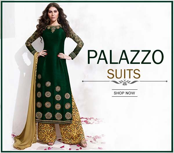 Outfit is an expression of good taste and personal style.  Item Code: SLCT8018 http://www.bharatplaza.com/new-arrivals/palazzo-suits.html