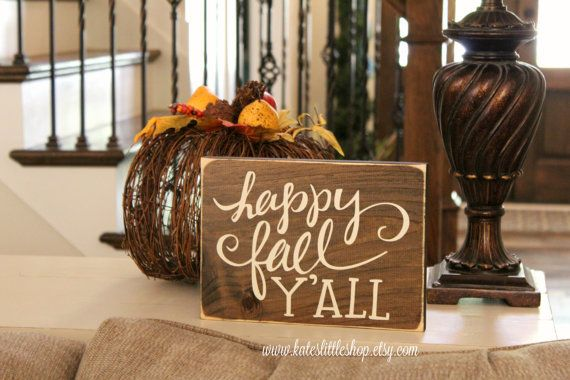Fall Real Wood Sign. Happy Fall Yall. Happy by KatesLittleShop