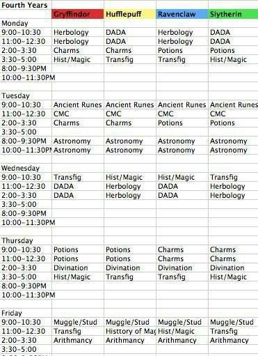 Harry Potter schedule. Ah yes, I would love to change mine for this.