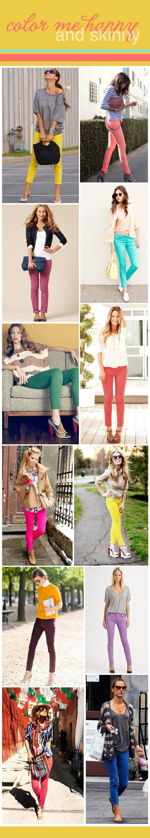 colored jeans: Colored Pants, Idea, Colored Skinnies, Style, Colorful Skinny, Colored Denim, Color Skinny, Colored Skinny Jeans, Colored Jeans