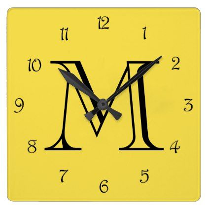 Monogram Black Script Numbers On Yellow Wall Clock - monogram gifts unique design style monogrammed diy cyo customize