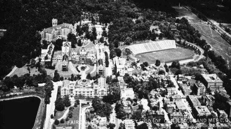 Vue aérienne oblique du secteur de l'hôpital Royal-Victoria (1925-1935) - Archives de la Ville de Montréal