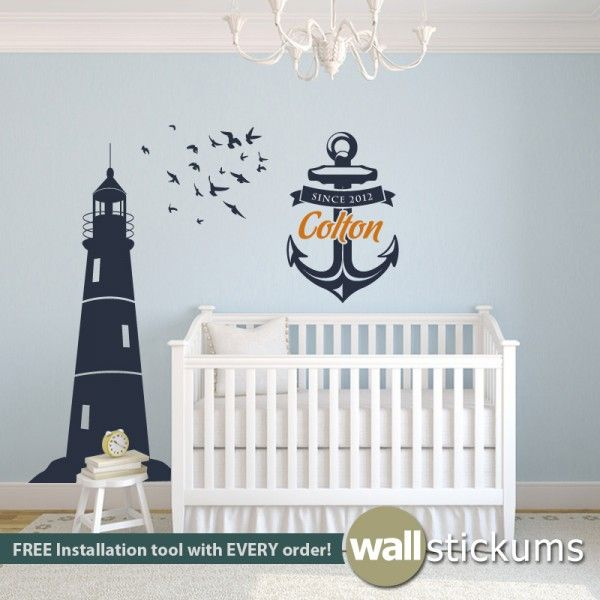 Kids nautical wall decal set lighthouse flock of birds and anchor with custom name birth year vinyl wall art decal sticker