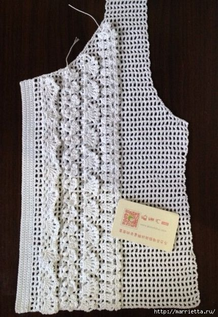 White blouse fillet knitting with ruches (7) (429x623, 231Kb)