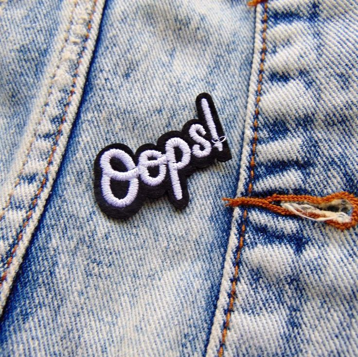 1 x Modern iron on patch 'Oops!'. black & white fabric word badge for bags and clothing. You can easily iron this badge onto your jacket, or for extra security sew on a few simple stitches around the edge of the patch. | eBay!