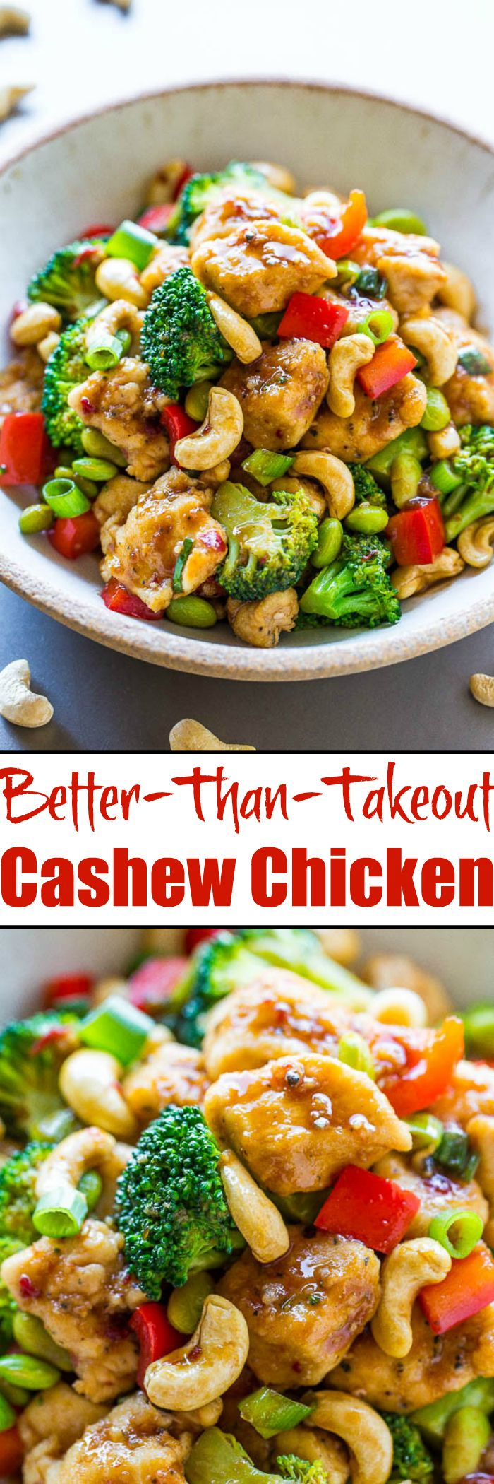 Better-Than-Takeout Cashew Chicken - Juicy chicken, crisp-tender vegetables, and crunchy cashews coated with the best garlicky soy sauce!! Skip takeout and make your own restaurant-quality meal that's easy, ready in 20 minutes, and healthier!!