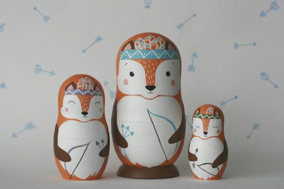Be BRAVE - INDIAN FOXES set of 3 wooden handpainted russian nesting dolls…