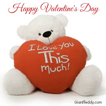 Coco Cuddles Big White Valentineu0027s Day Teddy Bear Holds Big Plush Red I  Love You THIS Much Heart Pillow, Tall